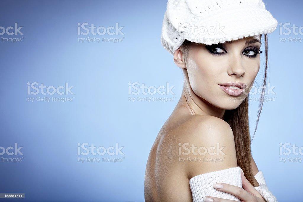 아름다운 brunette 여자 스튜디오 royalty-free 스톡 사진