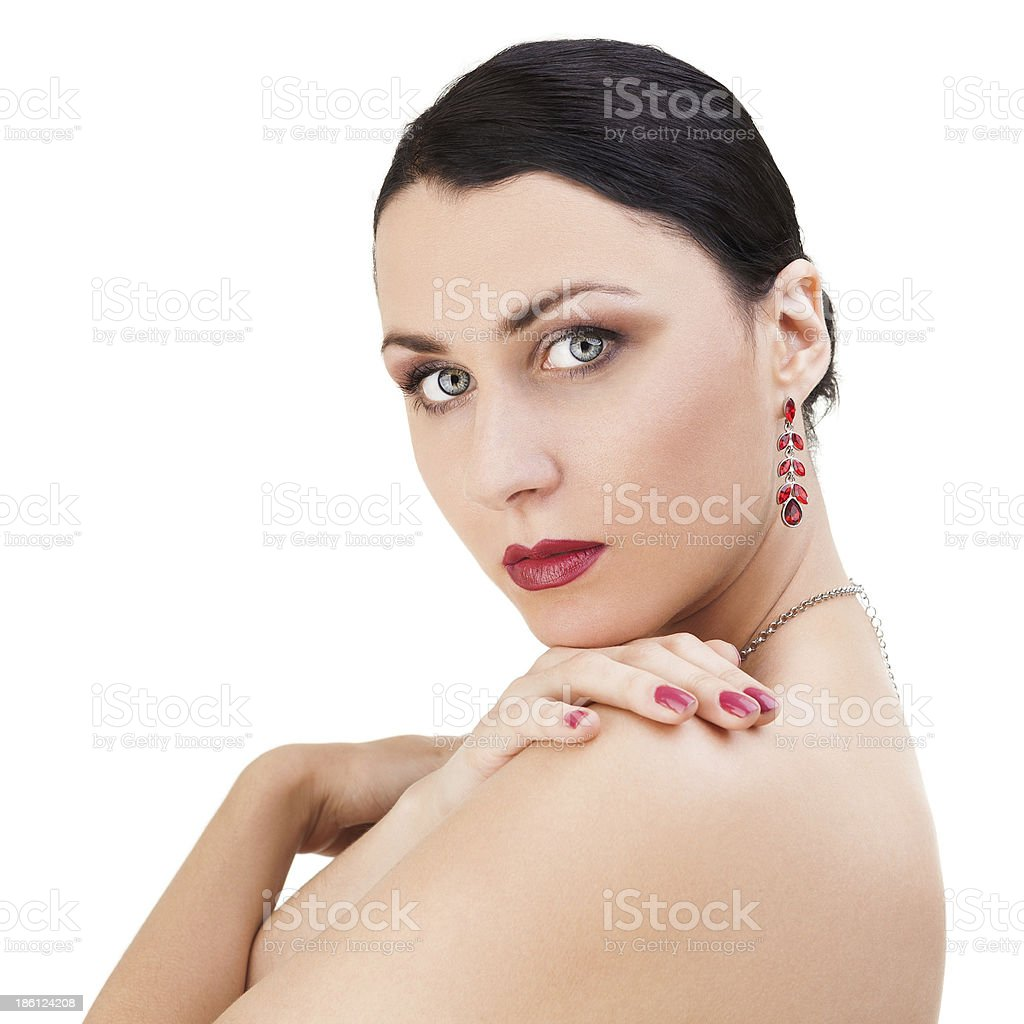 Beautiful Brunette Woman looking over her shoulder royalty-free stock photo