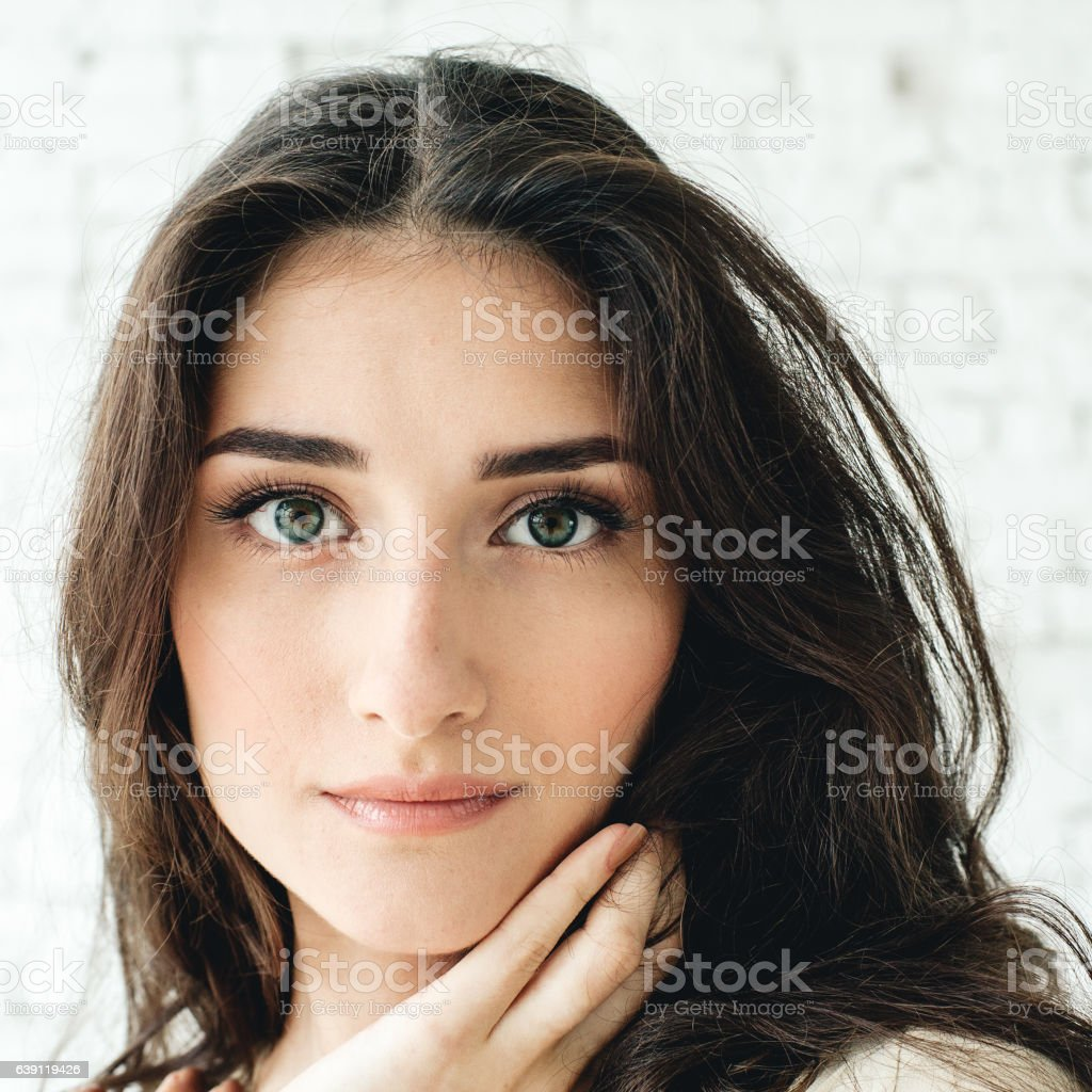 Beautiful brunette woman portrait. Natural makeup. Studio shot. stock photo