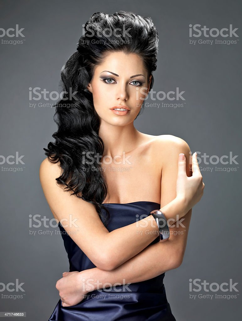 beautiful brunette woman with long hair royalty-free stock photo