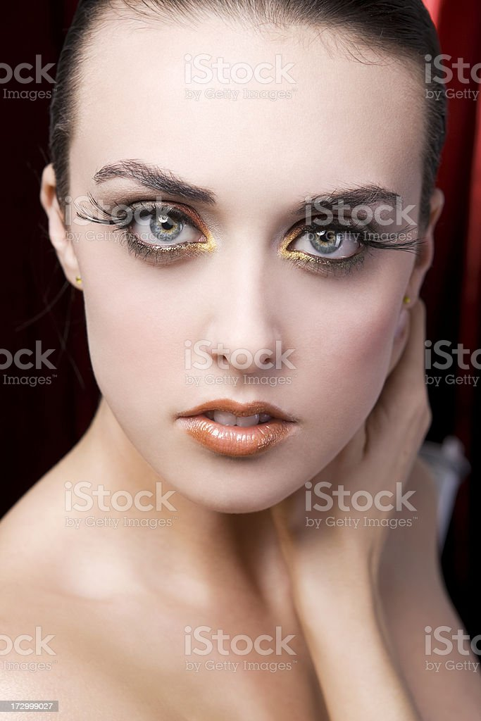 Beautiful Brunette Young Woman Beauty Model in Eye Makeup, Lashes stock photo