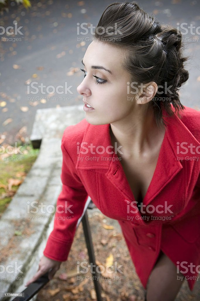 Beautiful Brunette Young Woman Fashion Model in Fall Jacket, Updo royalty-free stock photo