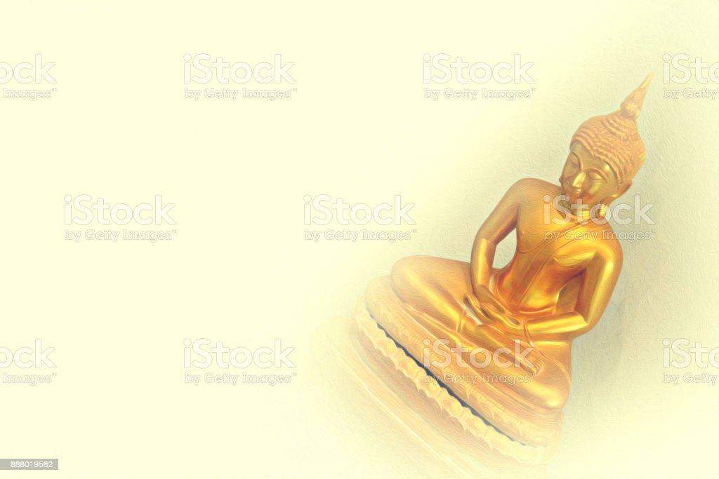 Beautiful Buddha image on watercolor painting background. stock photo