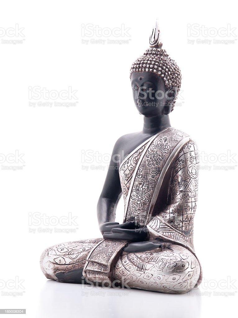 A beautiful Buddha statue on a white background stock photo
