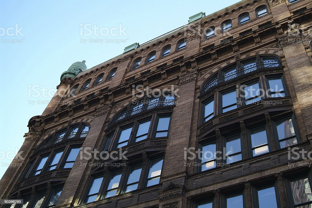 Beautiful building corner in NYC. stock photo