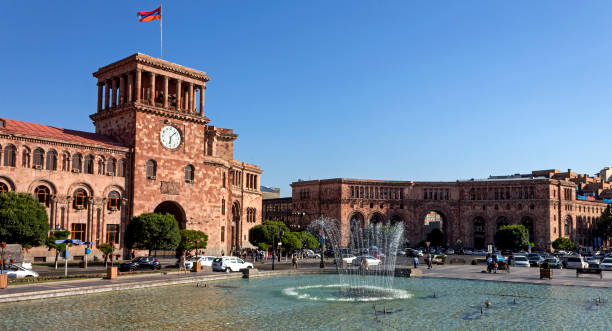 Beautiful building in Yerevan. Yerevan,Armenia - July 10,2017:The beautiful building on the Square of the Republic in Yerevan,the capital of Armenia, one of the oldest cities in the world. tuff stock pictures, royalty-free photos & images