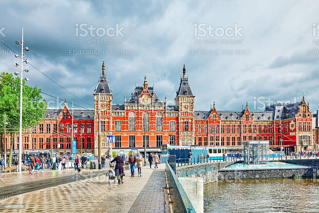 Beautiful buildings Amsterdam Centraal Station. stock photo