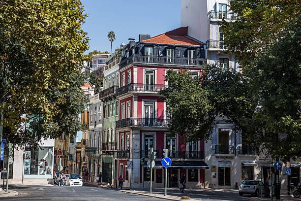 Beautiful buildings by Avenida da Liberdade, Lisbon, Portugal stock photo
