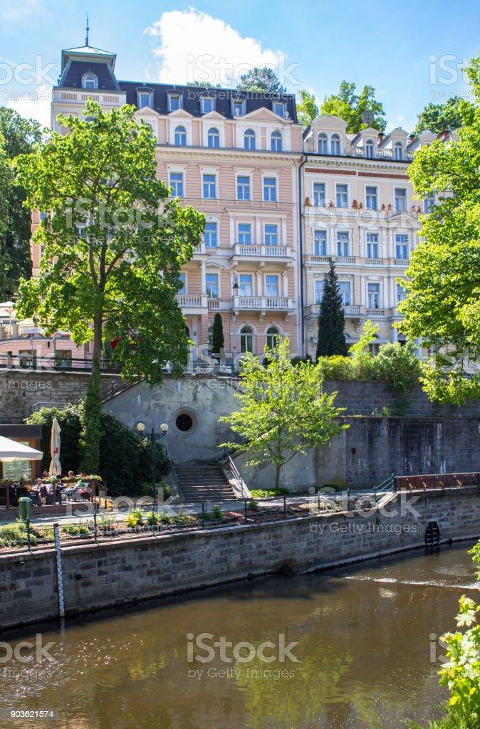 Beautiful buildings of Karlovy Vary, Czech Republic stock photo