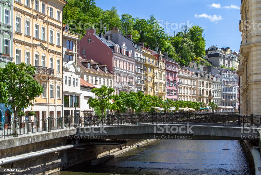 Beautiful buildings of Karlovy Vary, Czech Republic stock photo