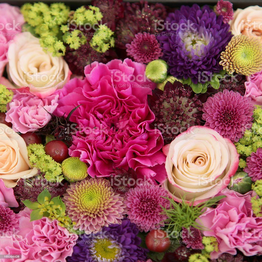 Beautiful  bunch of colorful flowers close-up stock photo