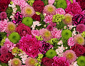 Beautiful pink, red and green bouquet of flowers: Rose, peonies, asters and carnations. Similar: