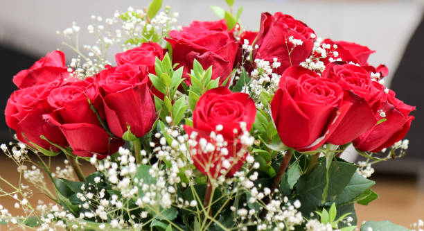 Beautiful bunch of red roses stock photo