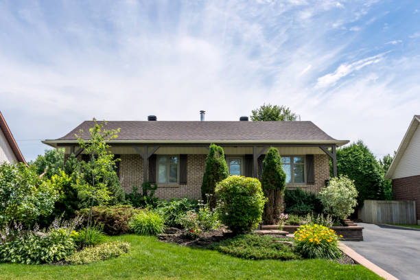 Beautiful Bungalow House in Residential District stock photo