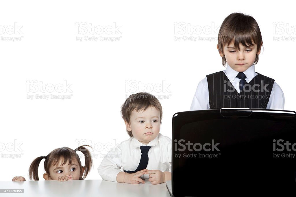 beautiful business children teamwork at office with laptop royalty-free stock photo