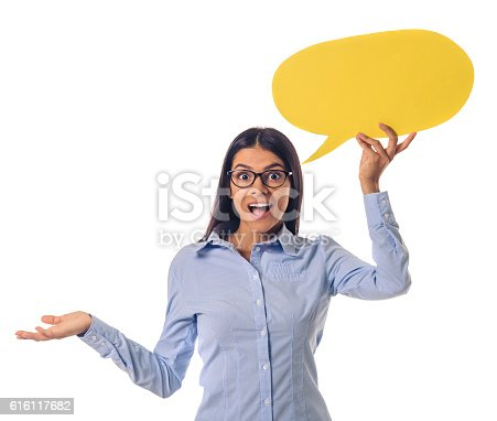 istock Beautiful business lady with speech bubble 616117682