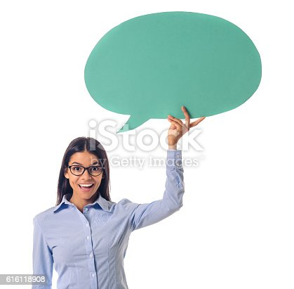 istock Beautiful business lady with speech bubble 616118908