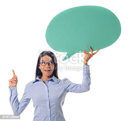 istock Beautiful business lady with speech bubble 616118930
