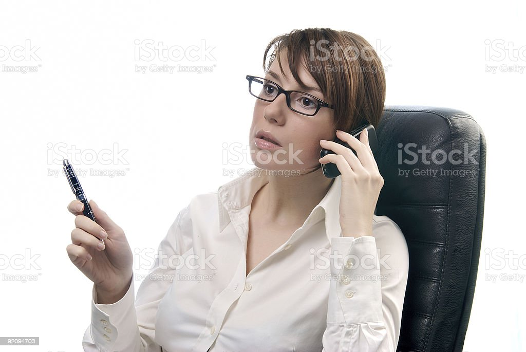Beautiful Business Woman holding Cell Phone royalty-free stock photo