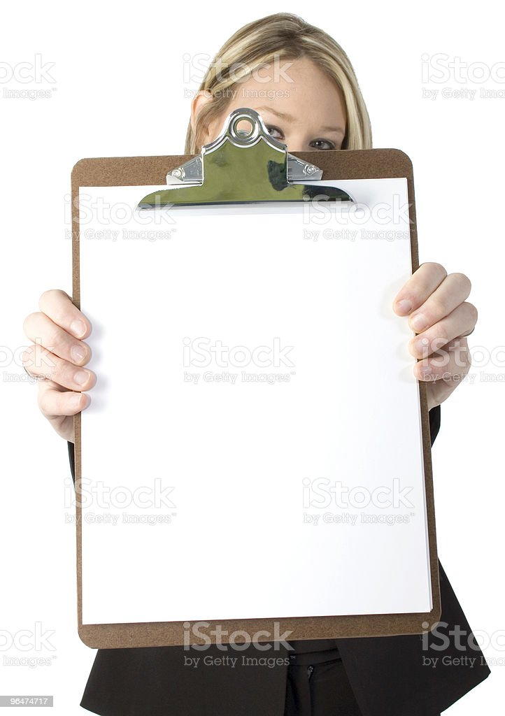 Beautiful Business Woman Holding Clipboard royalty-free stock photo