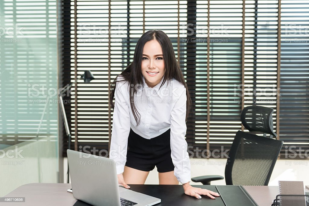 Beautiful business woman using a laptop computer at office, smil stock photo