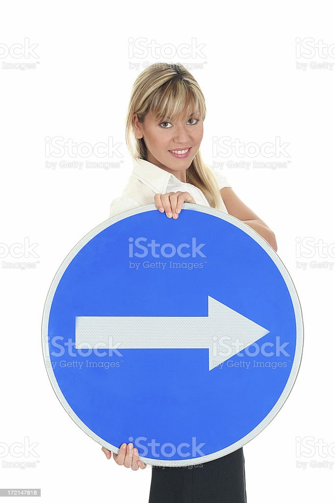 Beautiful business woman with a sign royalty-free stock photo