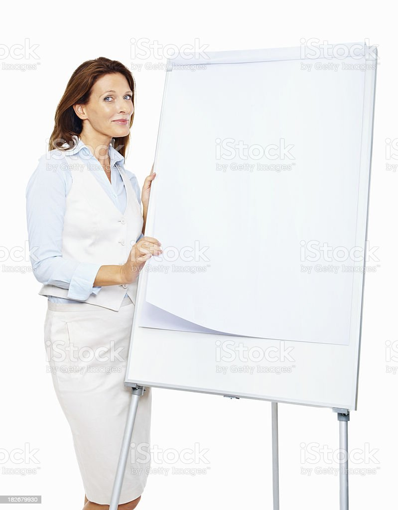 Beautiful business woman with a white board royalty-free stock photo