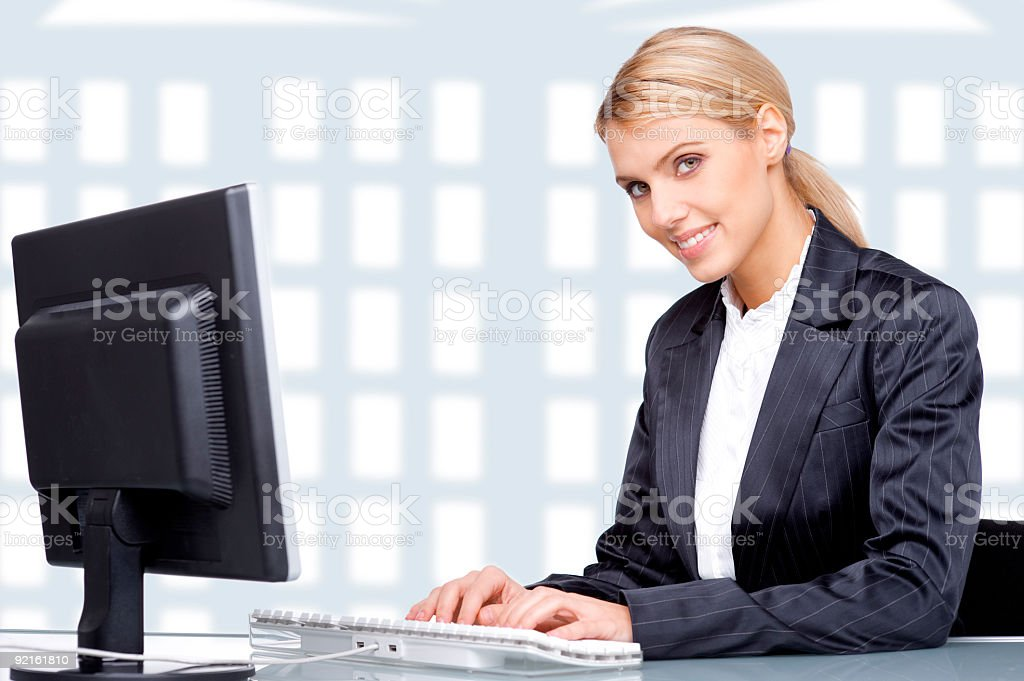 Beautiful businesswoman in her office royalty-free stock photo