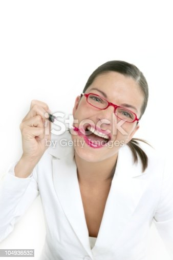 620404536istockphoto Beautiful businesswoman makeup red lipstick 104936532