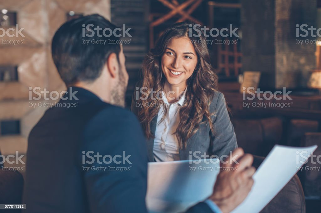 Beautiful businesswoman on a meeting stock photo