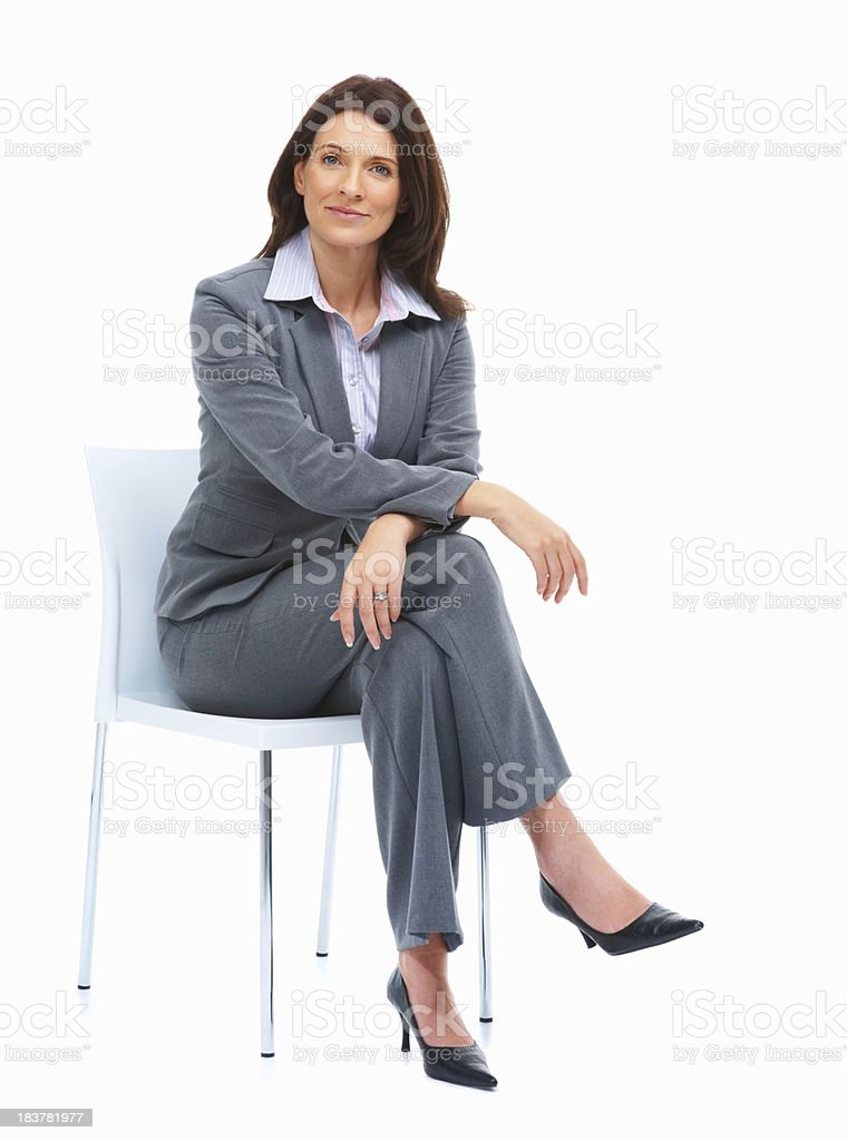 Beautiful Businesswoman Sitting On A Chair Stock Photo ...