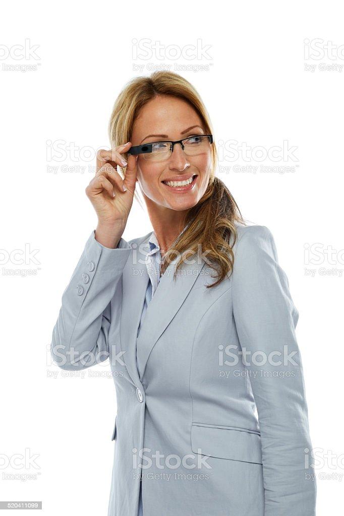 Beautiful businesswoman wearing smart glasses stock photo