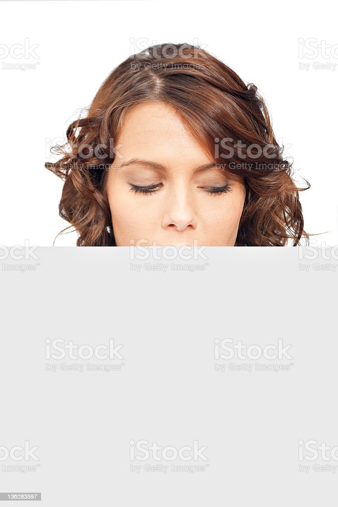Beautiful businesswoman with blank paper stock photo