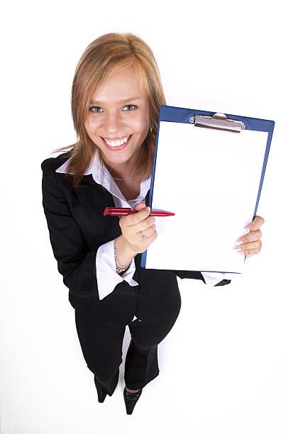 Schöne Geschäftsfrau mit Vertrag – Foto