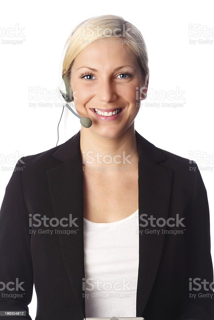 Beautiful businesswoman with headset royalty-free stock photo