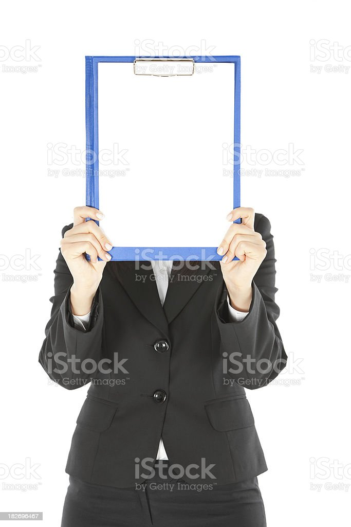 Beautiful Businesswomen Holding Empty Blue Clipboard royalty-free stock photo