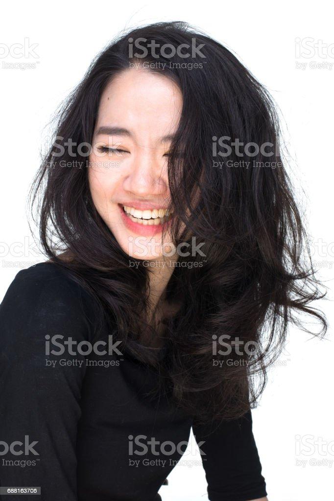 美しい黒と白の落ち込んでいるアジア人が、 ストックフォト
