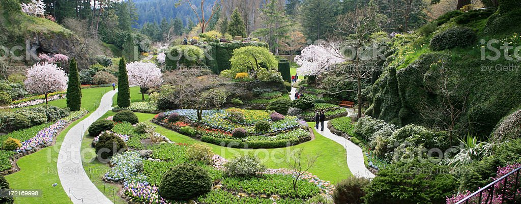 Beautiful Butchart Gardens Victoria In The Spring stock photo
