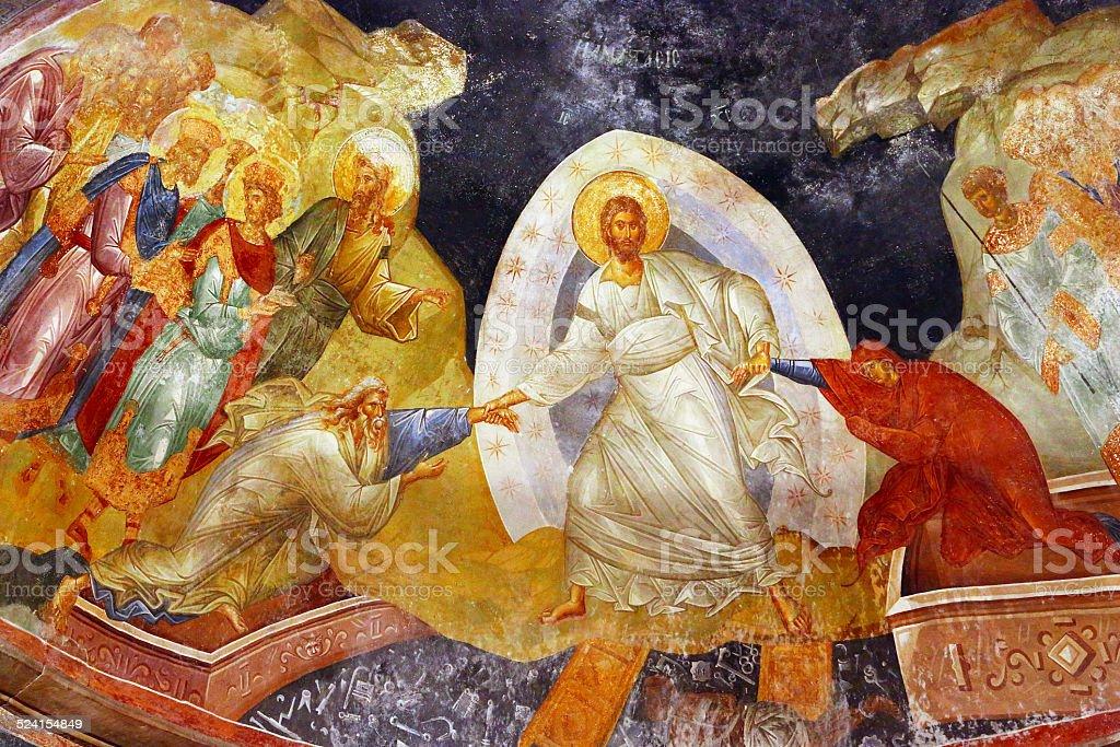 Beautiful byzantine fresco of Jesus in Istanbul, Turkey stock photo