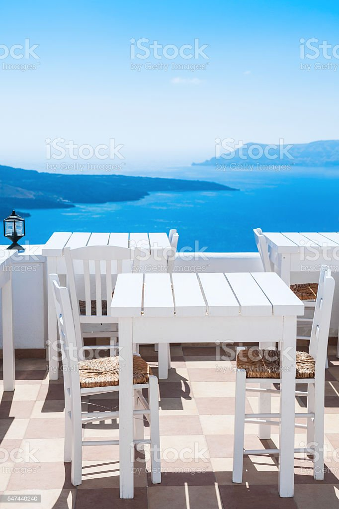 Beautiful cafe with sea view stock photo