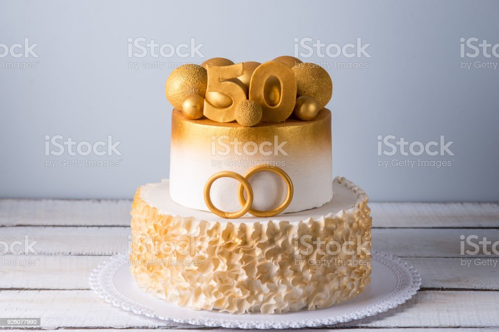 Beautiful Cake For The 50th Anniversary Of The Wedding Decorated ...