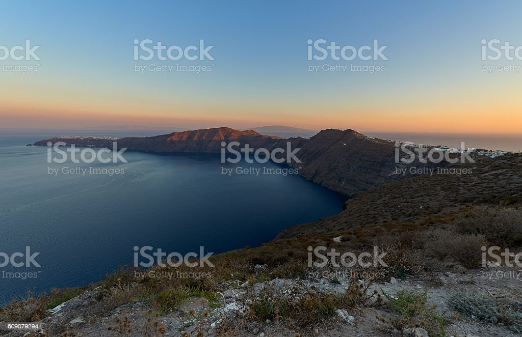 Beautiful caldera view in the morning stock photo