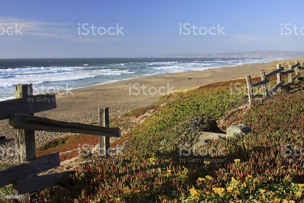 Beautiful California beach scene and old fence royalty-free stock photo