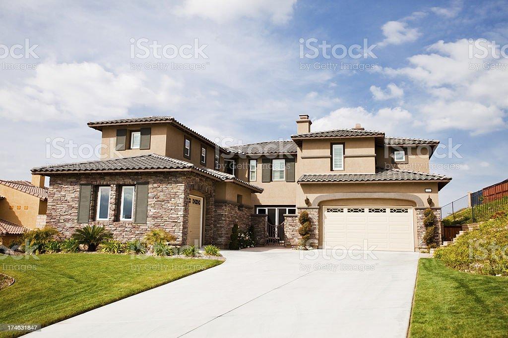beautiful california house with stone walls stock photo