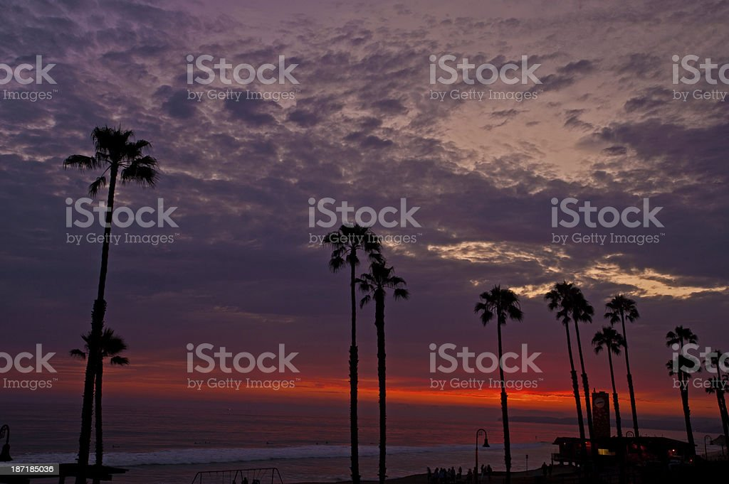 Beautiful California Sunset in San Clemente with Palm Trees stock photo
