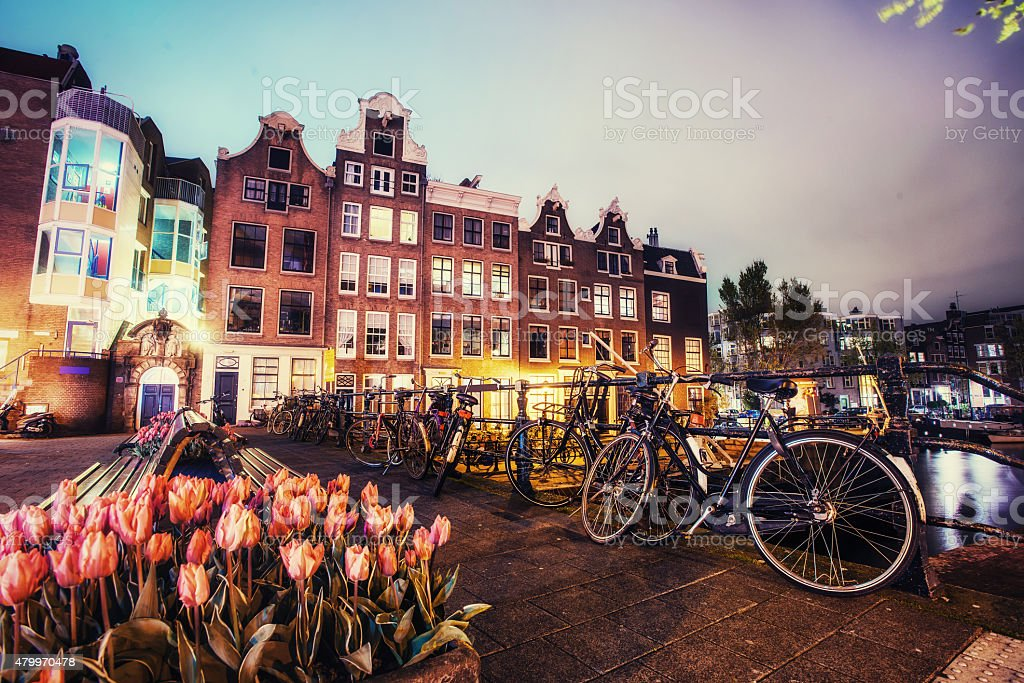 Beautiful calm night view of Amsterdam city. stock photo