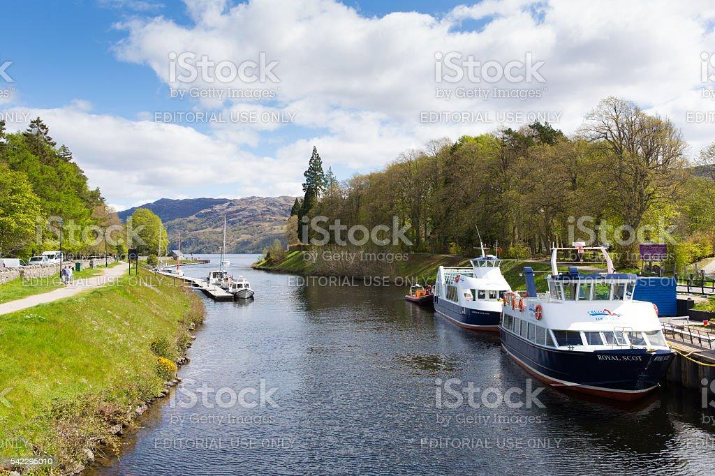 Beautiful calm spring weather Fort Augustus Scotland UK May 2016 stock photo