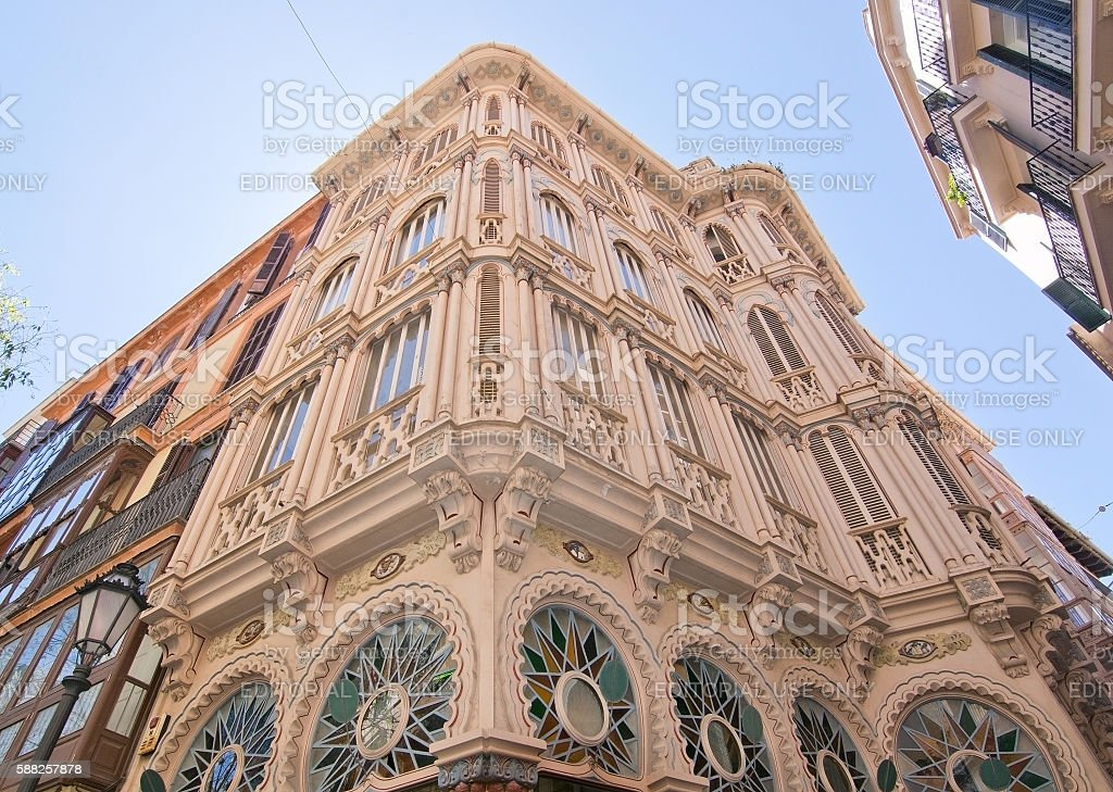 Beautiful Can Corbella art nouveau building stock photo