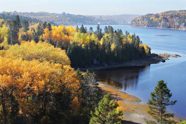 Beautiful Canadian Saguenay River at Fall stock photo