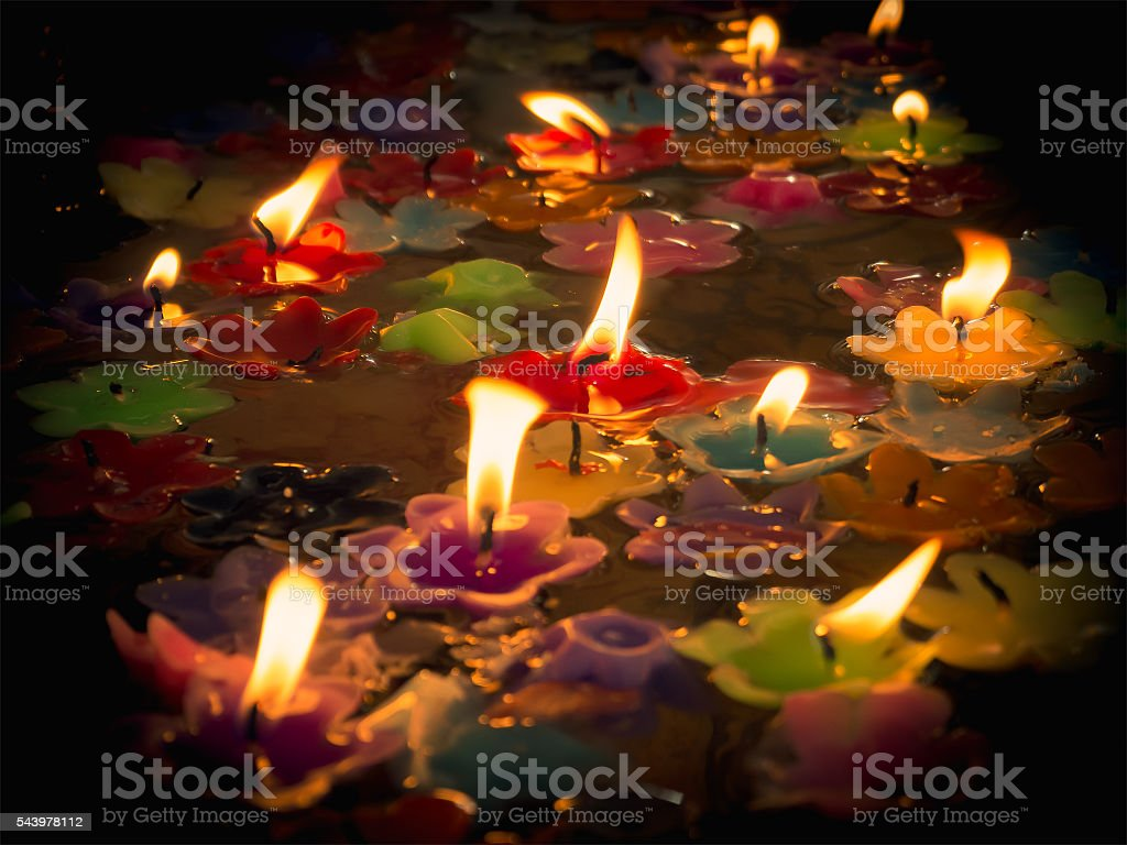 Beautiful Candles On Water Stock Photo Download Image Now Istock